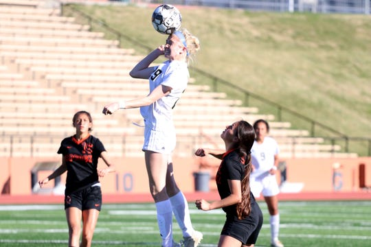 Rider's Mindy Shoffit scored two goals in the Lady Raiders' 3-1 playoff victory Friday against Amarillo Caprock.