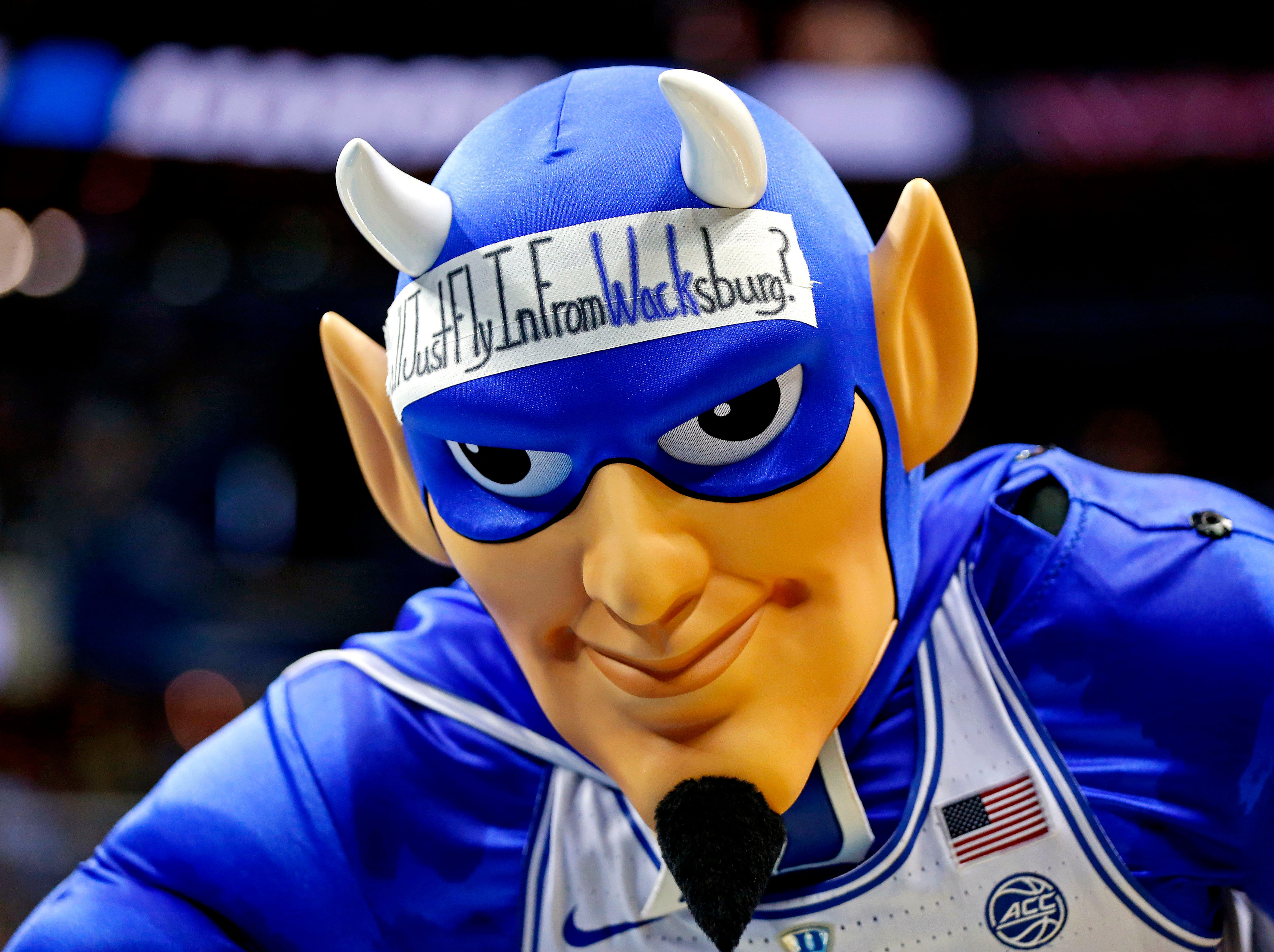 The Duke Blue Devils mascot during the first half against the Virginia Tech Hokies in the Sweet 16.