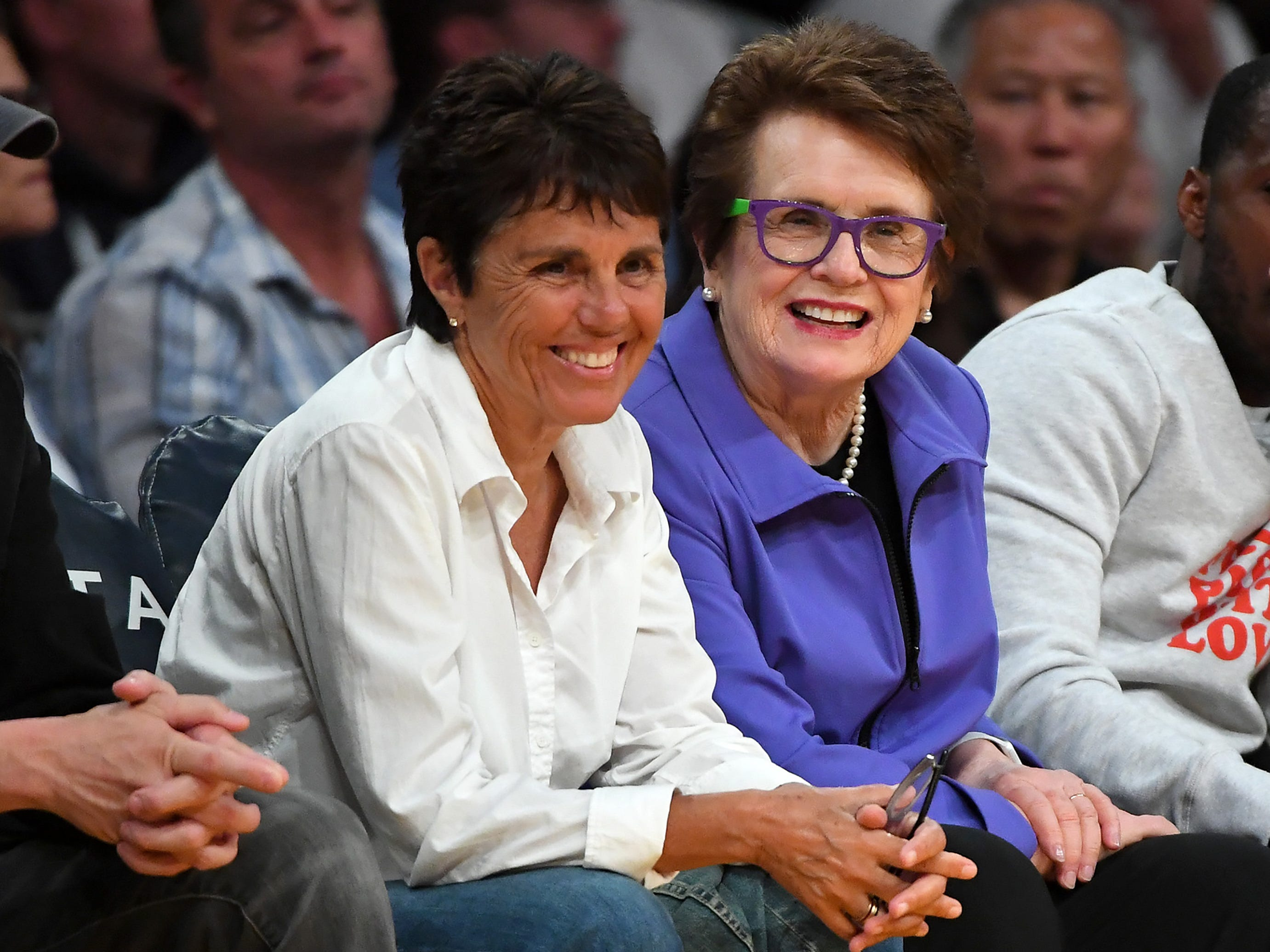 March 29: Tennis legend Billie Jean King, right, and partner Ilana Kloss take in the Lakers game at Staples Center.