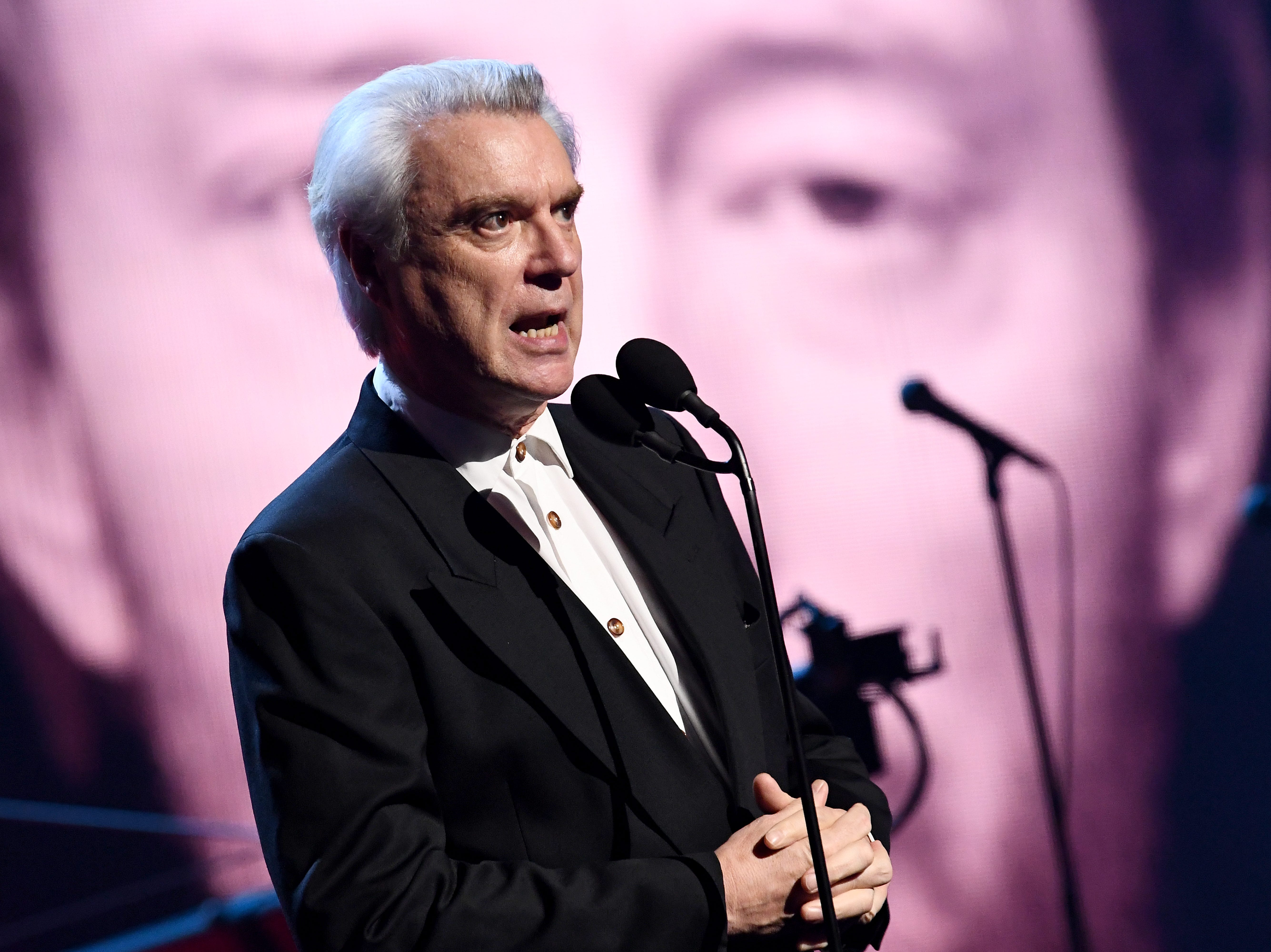 Talking Heads frontman David Byrne introduces Radiohead.