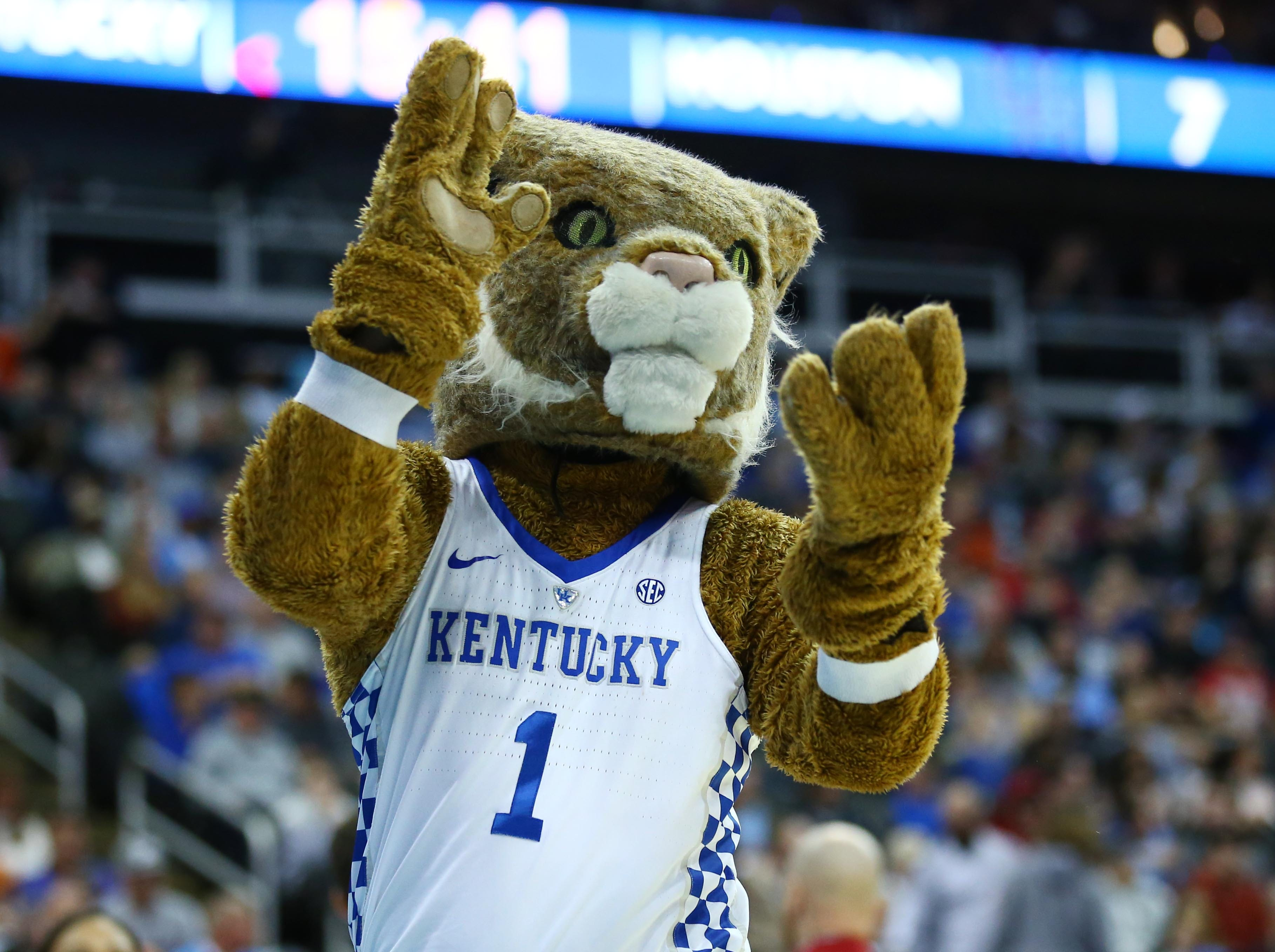 Sweet 16: The Kentucky Wildcats mascot performs during the first half against the Houston Cougars.