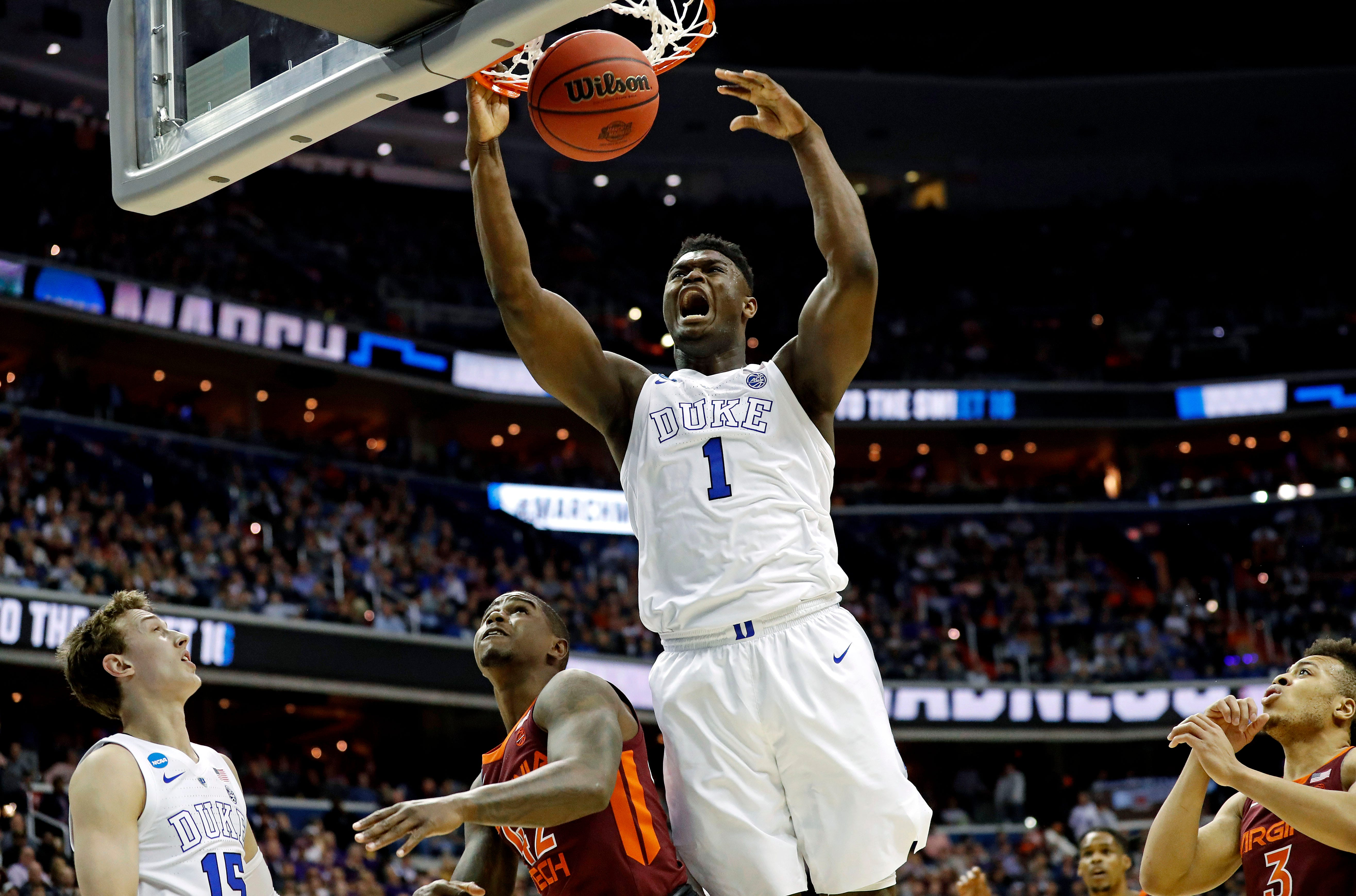 Duke forward Zion Williamson dunks the ball against Virginia Tech during the Sweet 16 of the 2019 NCAA tournament.