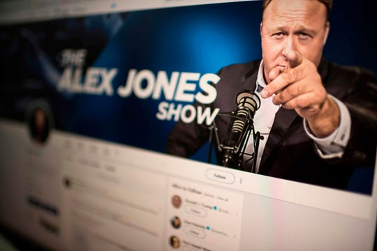 The Twitter account of Alex Jones, taken on August 15, 2018 in Washington, D.C.