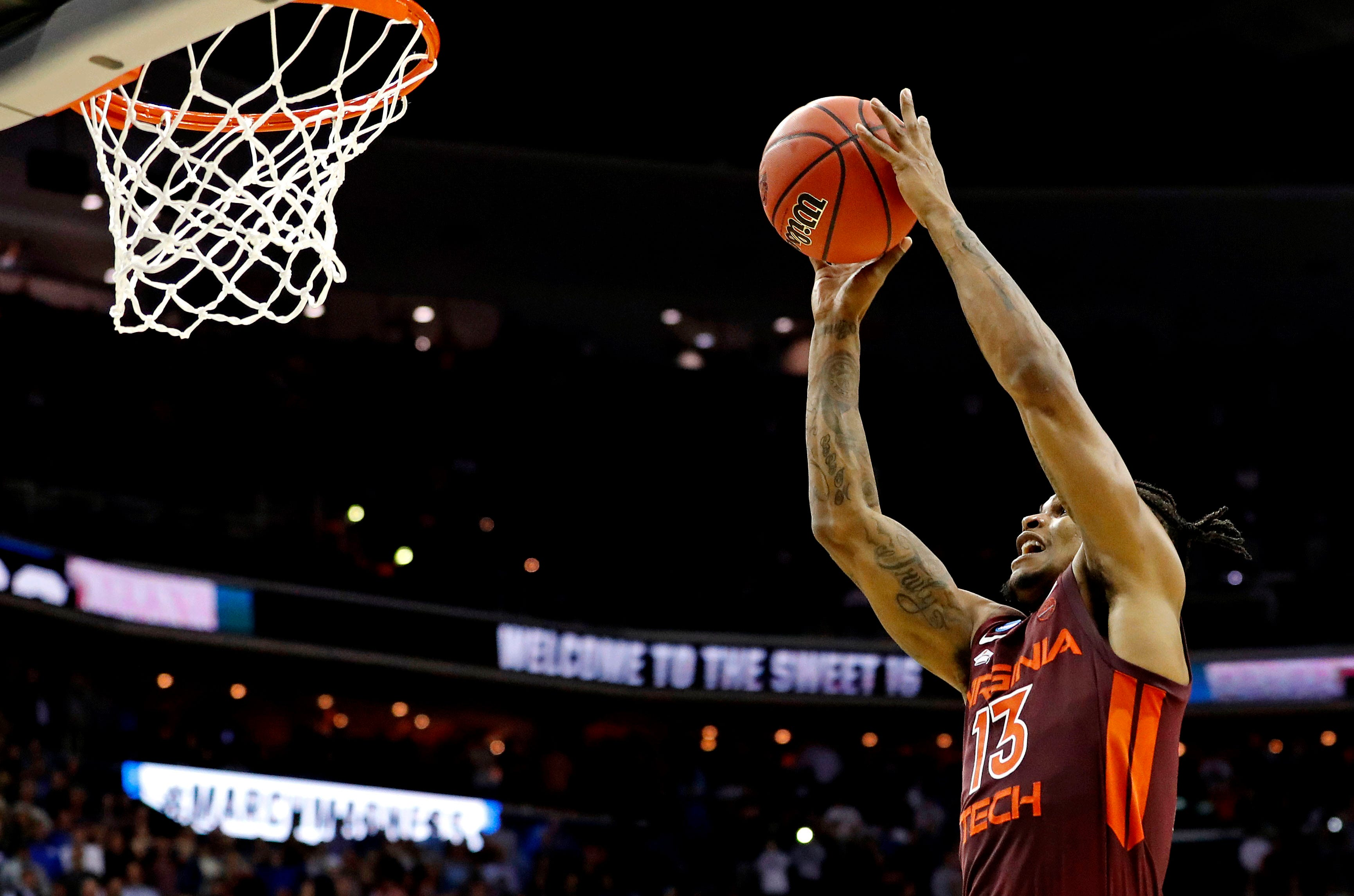 Virginia Tech guard Ahmed Hill misses a last-second shot to tie the game against Duke in the Sweet 16 of the 2019 NCAA tournament.