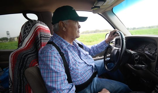 George Gonzales visits his goats every day. They'll follow him around 100 acres where they graze in his old Chevy pickup truck