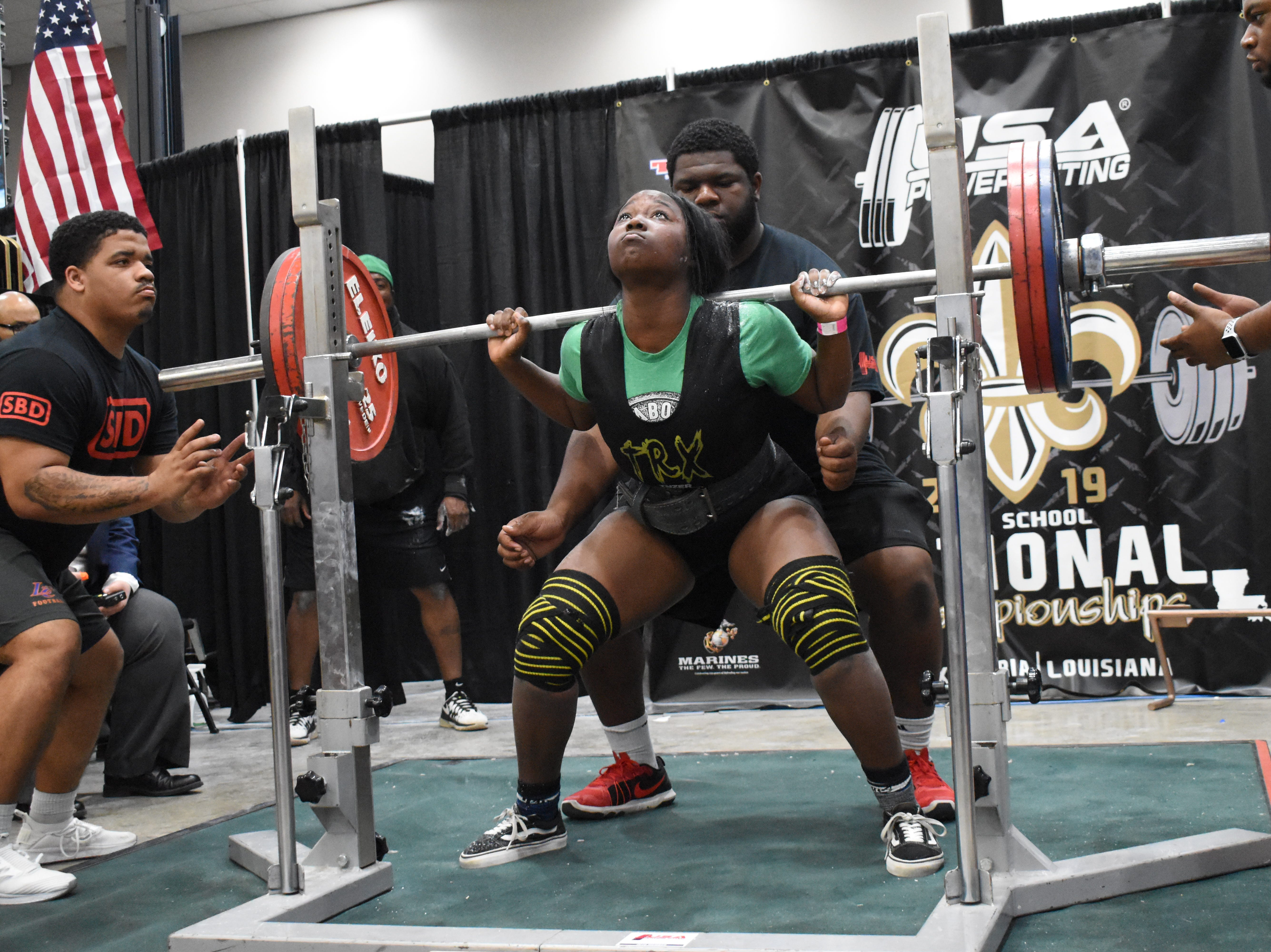 The USA Powerlifting High School National Championships, equipped and raw, are being held at the Randolph Riverfront Center in downtown Alexandria with high school powerlifters from across the country competing in the four-day event. Powerlifters from local schools are also competing. The meet continues Sunday, March 31, 2019.