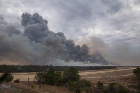The Penn State Forest fire as seen from Coyle Airfield on Route 72 in Woodland Township