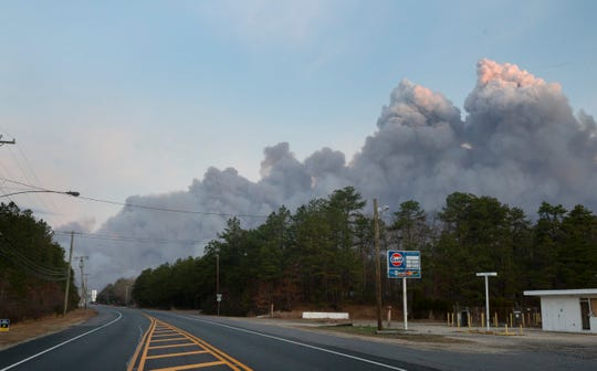 Forest fire as seen from West Bay Ave and Route 72 in Barnegat on Sunday morning on March 31, 2019.