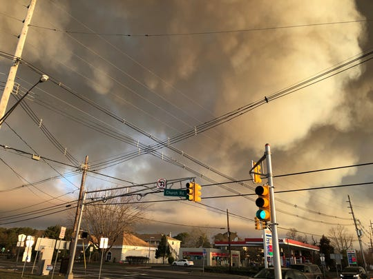 Smoke can be seen from the Route 72 brush fire on Hooper Ave. in Toms River near the Brick border.