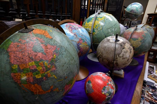 Globes of various vintages are on display at the Rochester Museum Some items in the museum are donated but Linda Short said the majority of them were bought by her. She hopes to have a similar museum in Haskell reflective of the entire county.