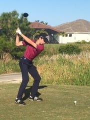 Brendan Valdes hits his opening tee shot during thes econd round of the Space Coast Amateur Championship at Duran.