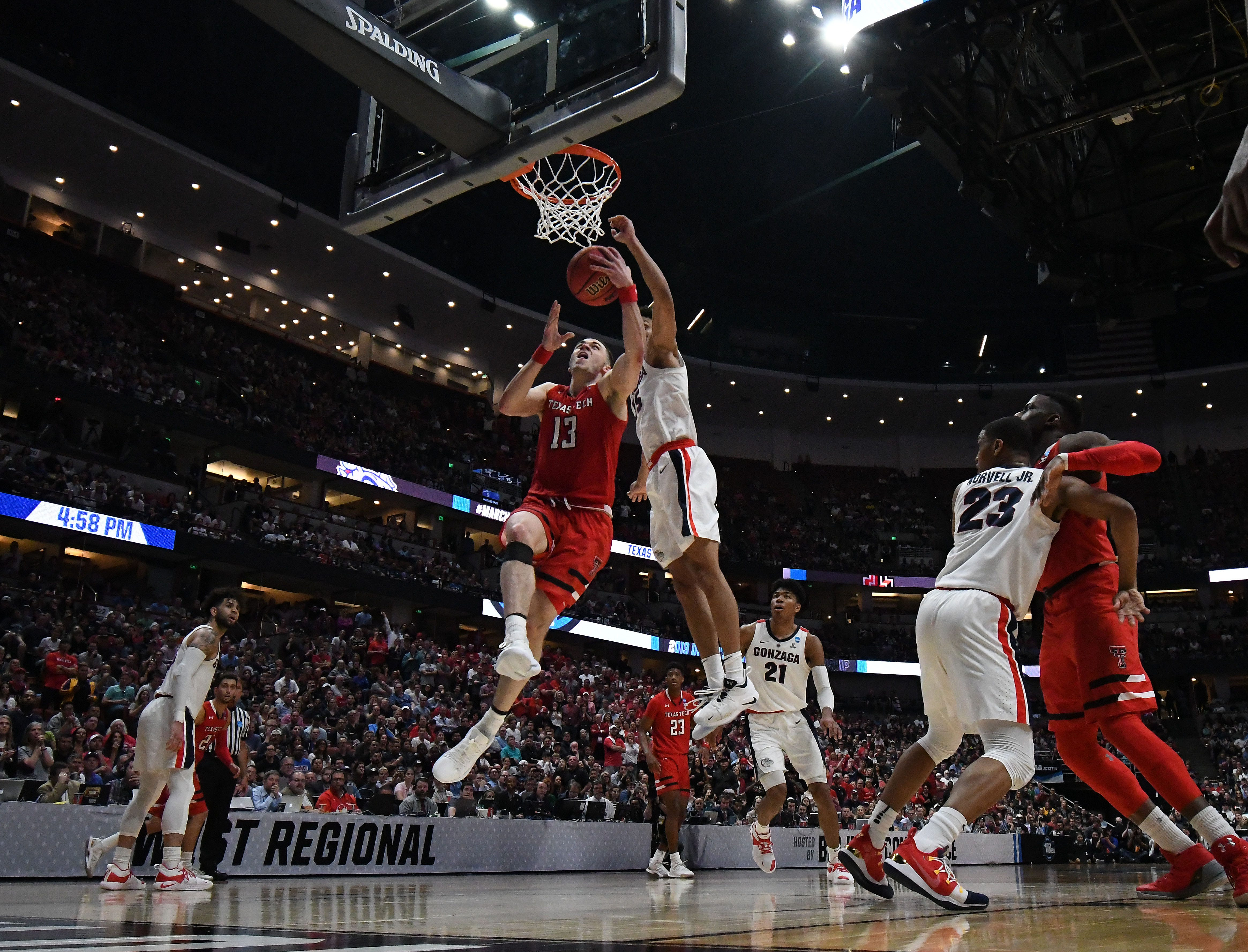 March 30, 2019; Anaheim, CA, USA; Texas Tech Red Raiders guard Matt Mooney (13) shoots against the Gonzaga Bulldogs during the second half in the championship game of the west regional of the 2019 NCAA Tournament at Honda Center. Mandatory Credit: Richard Mackson-USA TODAY Sports