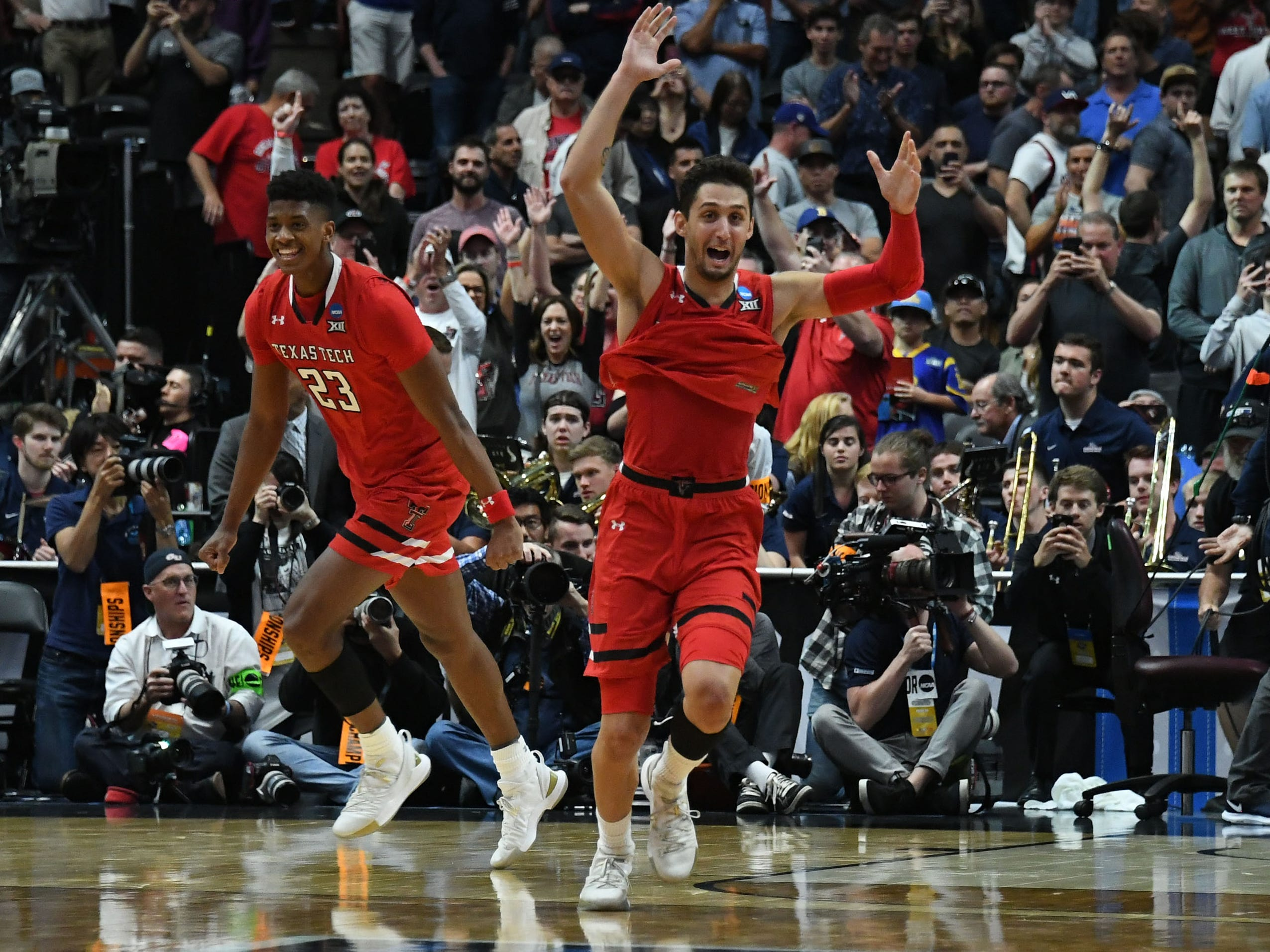 Texas Tech guard Davide Moretti celebrate after the Red Raiders reached the Final Four by beating Gonzaga.
