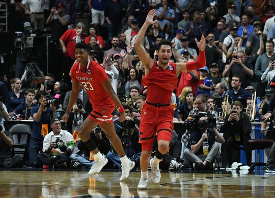 March 30, 2019; Anaheim, CA, USA; Texas Tech Red Raiders guard Davide Moretti (25) and guard Jarrett Culver (23) celebrate the victory against Gonzaga Bulldogs in the championship game of the west regional of the 2019 NCAA Tournament at Honda Center. Mandatory Credit: Richard Mackson-USA TODAY Sports
