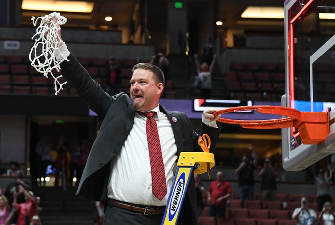 March 30, 2019; Anaheim, CA, USA; Texas Tech Red Raiders head coach Chris Beard cuts the net down after the victory over Gonzaga Bulldogs in the championship game of the west regional of the 2019 NCAA Tournament at Honda Center. Mandatory Credit: Richard Mackson-USA TODAY Sports
