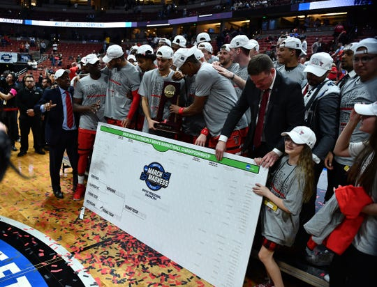 March 30, 2019; Anaheim, CA, USA; Texas Tech Red Raiders celebrates the victory over Gonzaga Bulldogs following the championship game of the west regional of the 2019 NCAA Tournament at Honda Center. Mandatory Credit: Robert Hanashiro-USA TODAY Sports