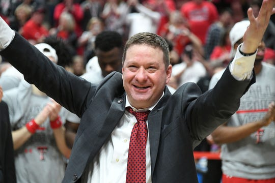 March 30, 2019; Anaheim, CA, USA; Texas Tech Red Raiders head coach Chris Beard celebrates the victory over Gonzaga Bulldogs in the championship game of the west regional of the 2019 NCAA Tournament at Honda Center. Mandatory Credit: Richard Mackson-USA TODAY Sports