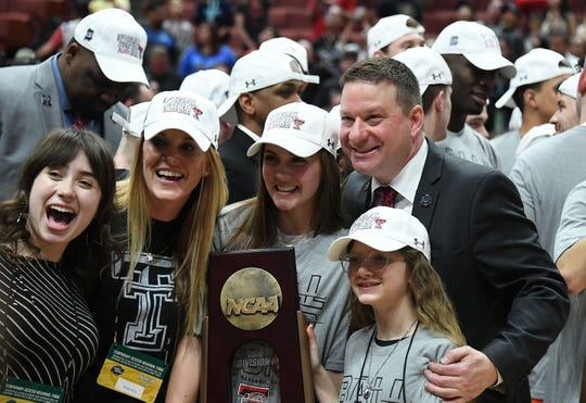 March 30, 2019; Anaheim, CA, USA; Texas Tech Red Raiders head coach Chris Beard celebrates with his family the victory over Gonzaga Bulldogs following the championship game of the west regional of the 2019 NCAA Tournament at Honda Center. Mandatory Credit: Richard Mackson-USA TODAY Sports