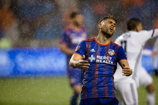 FC Cincinnati midfielder Leonardo Bertone (6) reacts to missing a shot in the second half of the match between FC Cincinnati and Philadelphia Union on Saturday, March 30, 2019, at Nippert Stadium in Cincinnati.