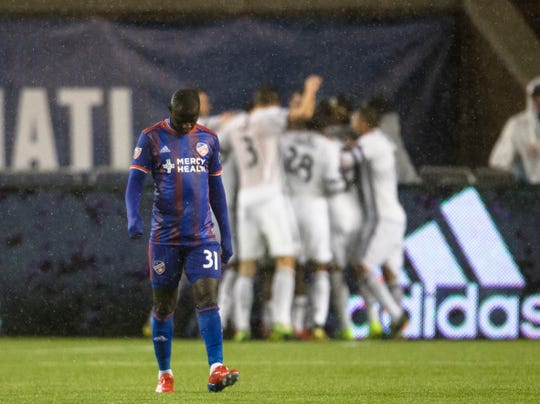 FC Cincinnati forward Kekuta Manneh (31) reacts to Philadelphia Union scoring their second goal in the second half of the match between FC Cincinnati and Philadelphia Union on Saturday, March 30, 2019, at Nippert Stadium in Cincinnati.