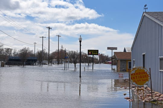 The south part of Hamburg in Southwest Iowa is still flooded on Saturday, March 30, 2019, following a historic flood that left two-thirds of the town underwater.