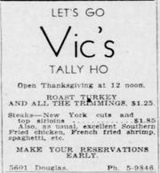 An advertisement for the Thanksgiving dinner special at Vic's Tally Ho on November 1946.