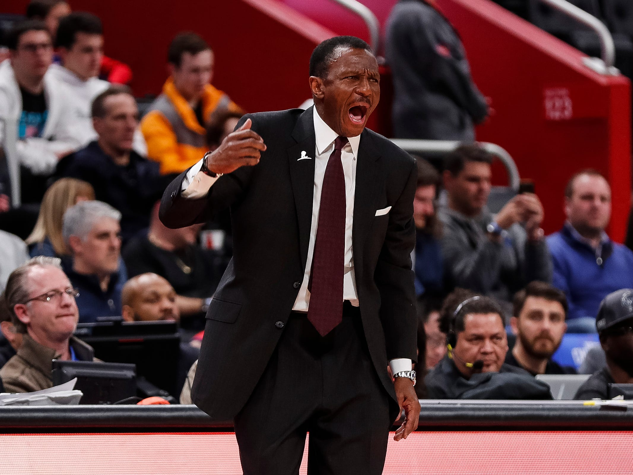 Pistons head coach Dwane Casey reacts to a play during the Pistons' 99-90 win over the Trail Blazers on Saturday, March 30, 2019, at Little Caesars Arena.