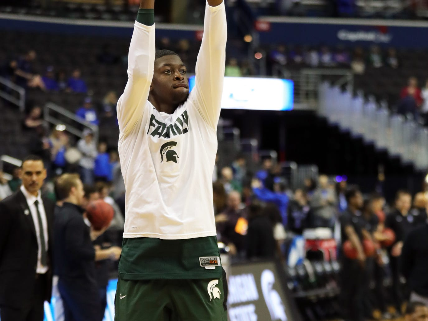 MSU forward Gabe Brown warms up before East Region final against Duke on Sunday, March 31, 2019, in Washington.