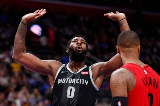 Andre Drummond celebrates a dunk against the Trail Blazers on March 30.