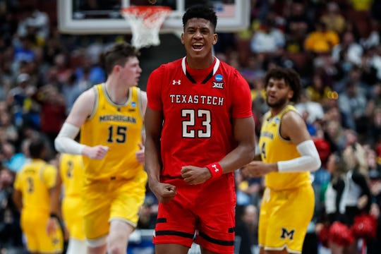 Texas Tech guard Jarrett Culver celebrates a play against Michigan during the second half of the Sweet 16 game at Honda Center in Anaheim, Calif., Thursday, March 28, 2019.