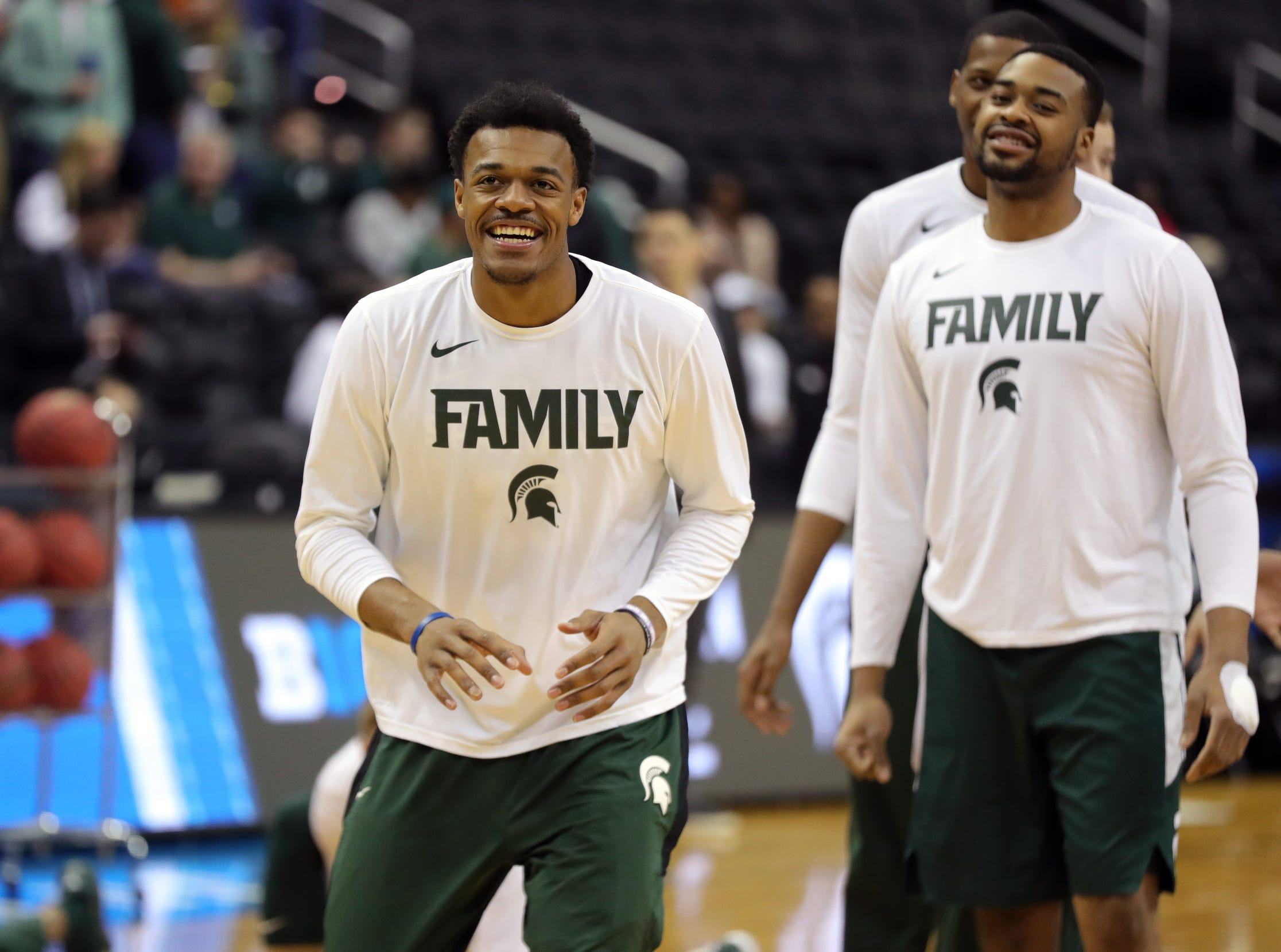 MSU forwards  Xavier Tillman, left, and Nick Ward warm up before East Region final against Duke on Sunday, March 31, 2019, in Washington.