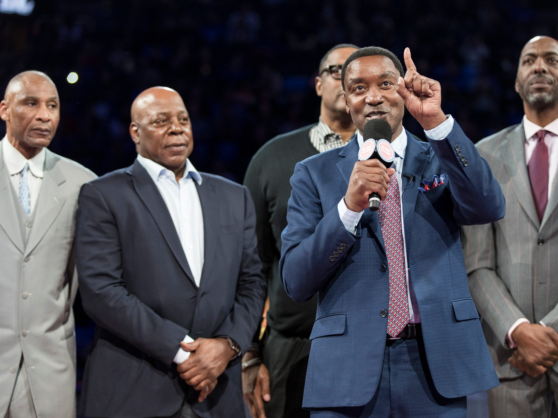 Isiah Thomas speaks during PistonsÕ ceremony to honor theÊBad Boys' 30th anniversary of the 1989-90 back-to-back championships at the Little Caesars Arena in Detroit, Saturday, March 30, 2019.