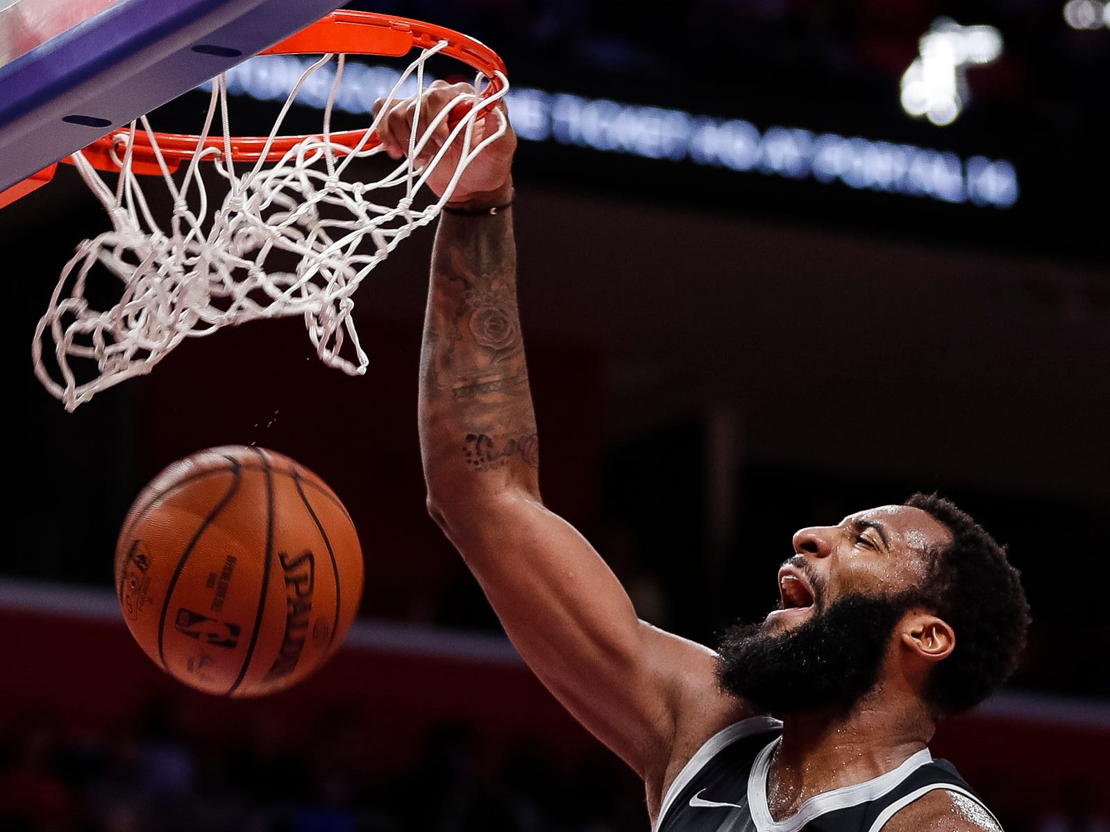Pistons center Andre Drummond (0) dunks the ball against Trail Blazers during the second half of the Pistons' 99-90 win over the Trail Blazers on Saturday, March 30, 2019, at Little Caesars Arena.