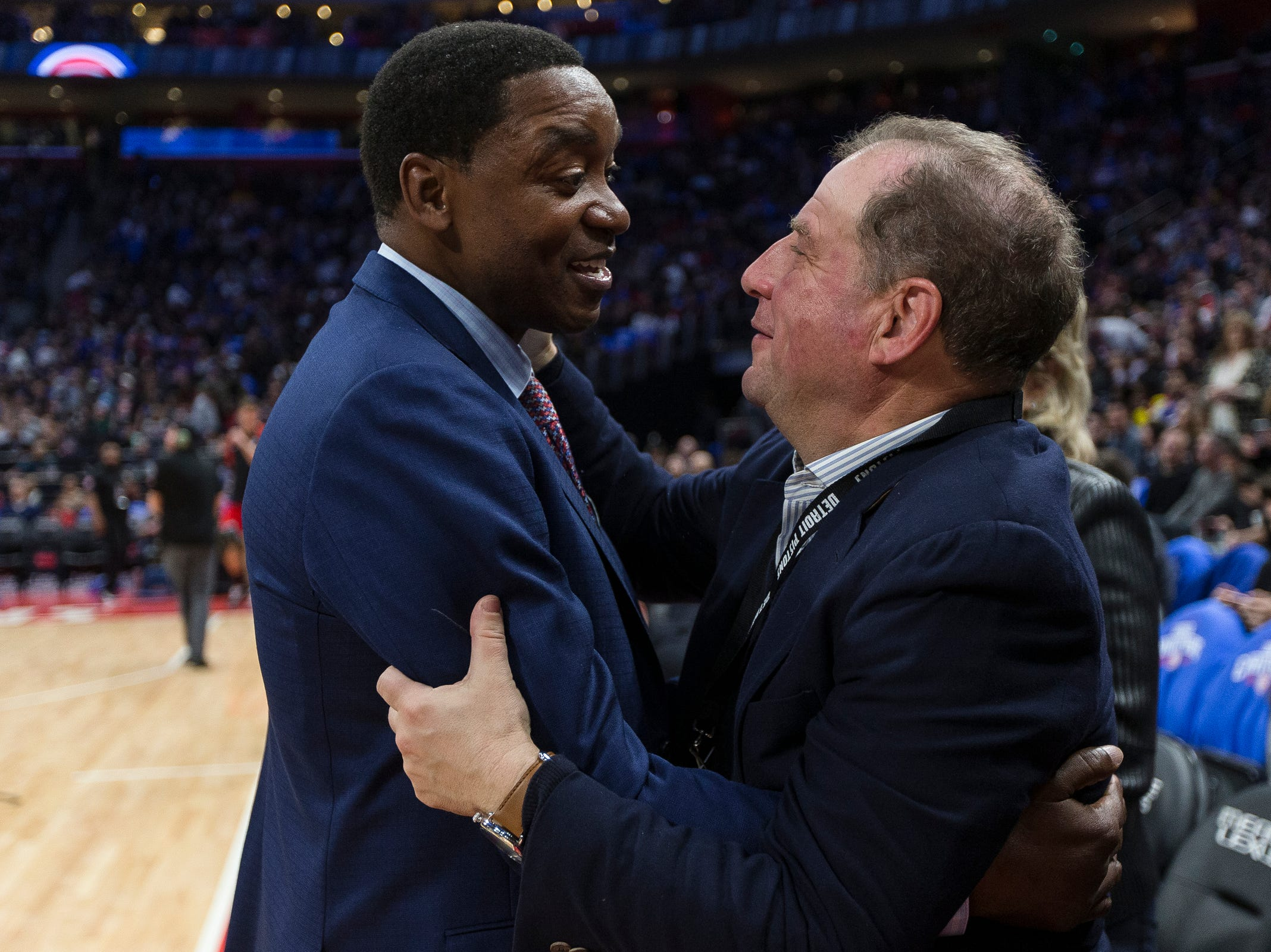 Isiah Thomas talks to Arn Tellem, Pistons' vice chairman during theÊcelebration for the Bad Boys' 30th anniversary of the 1989-90 back-to-back championships at the Little Caesars Arena in Detroit, Saturday, March 30, 2019.