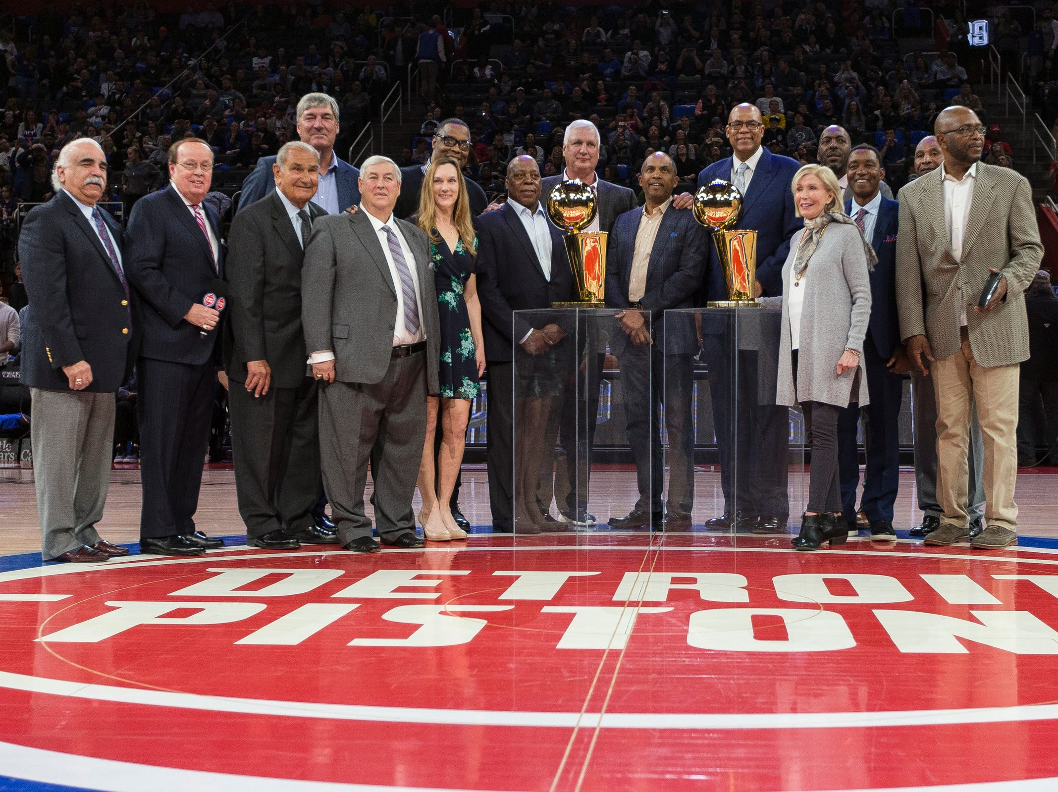 Pistons ceremony to honor the Bad Boys' 30th anniversary of the 1989-90 back to back championships at the Little Caesars Arena in Detroit, Saturday, March 30, 2019.