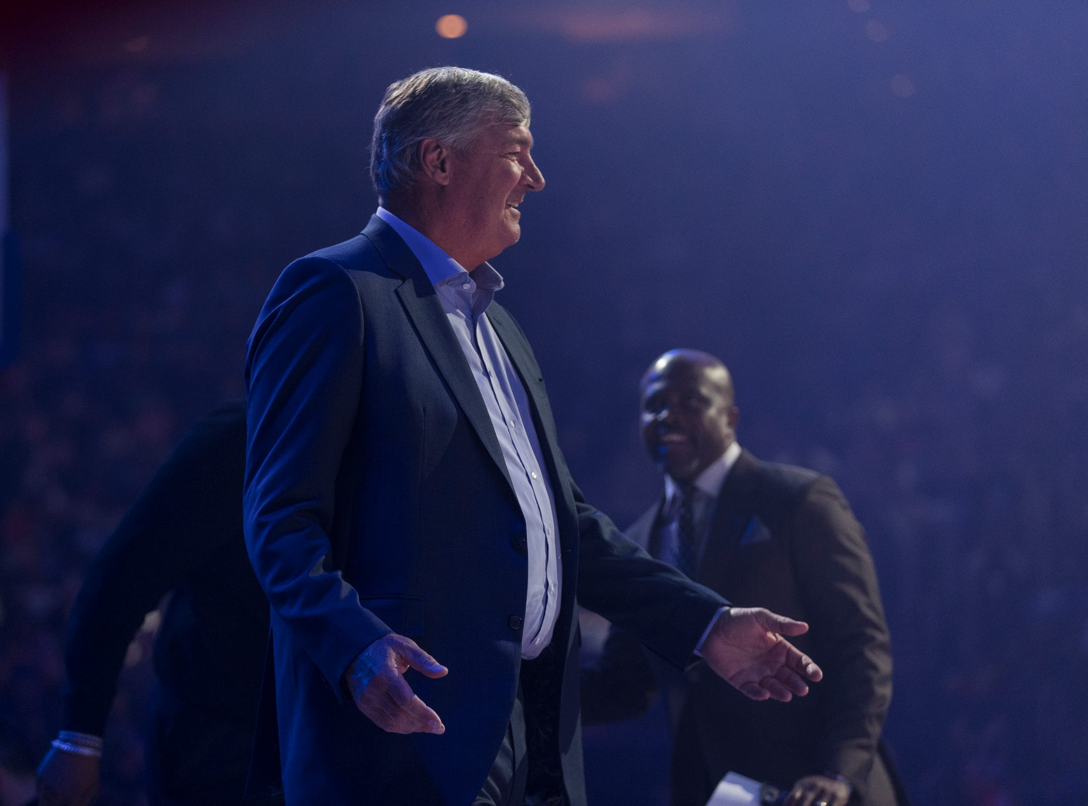 Bill Laimbeer is being introduced during the Pistons' ceremony for the 30th anniversary of the 1989-90 back-to-back championships during the Pistons' 99-90 win over the Trail Blazers on Saturday, March 30, 2019, at Little Caesars Arena.