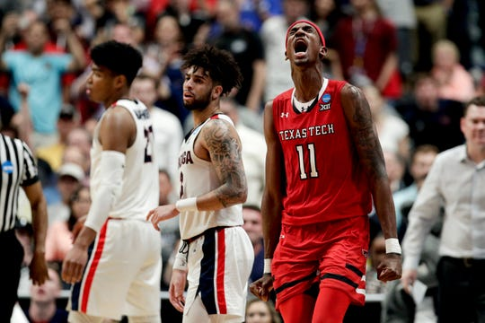 Texas Tech forward Tariq Owens celebrates after a blocked shot in the win over Gonzaga on Saturday.