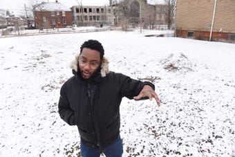 Daniel A. Washington, founder, NW Goldberg Cares, speaks about the transformation of an empty lot in Detroit