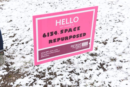 Today, a grass field on 15th Street, on Detroit's west side, is snow-covered but otherwise bare, punctuated only by a pink sign that augurs things will soon be different.