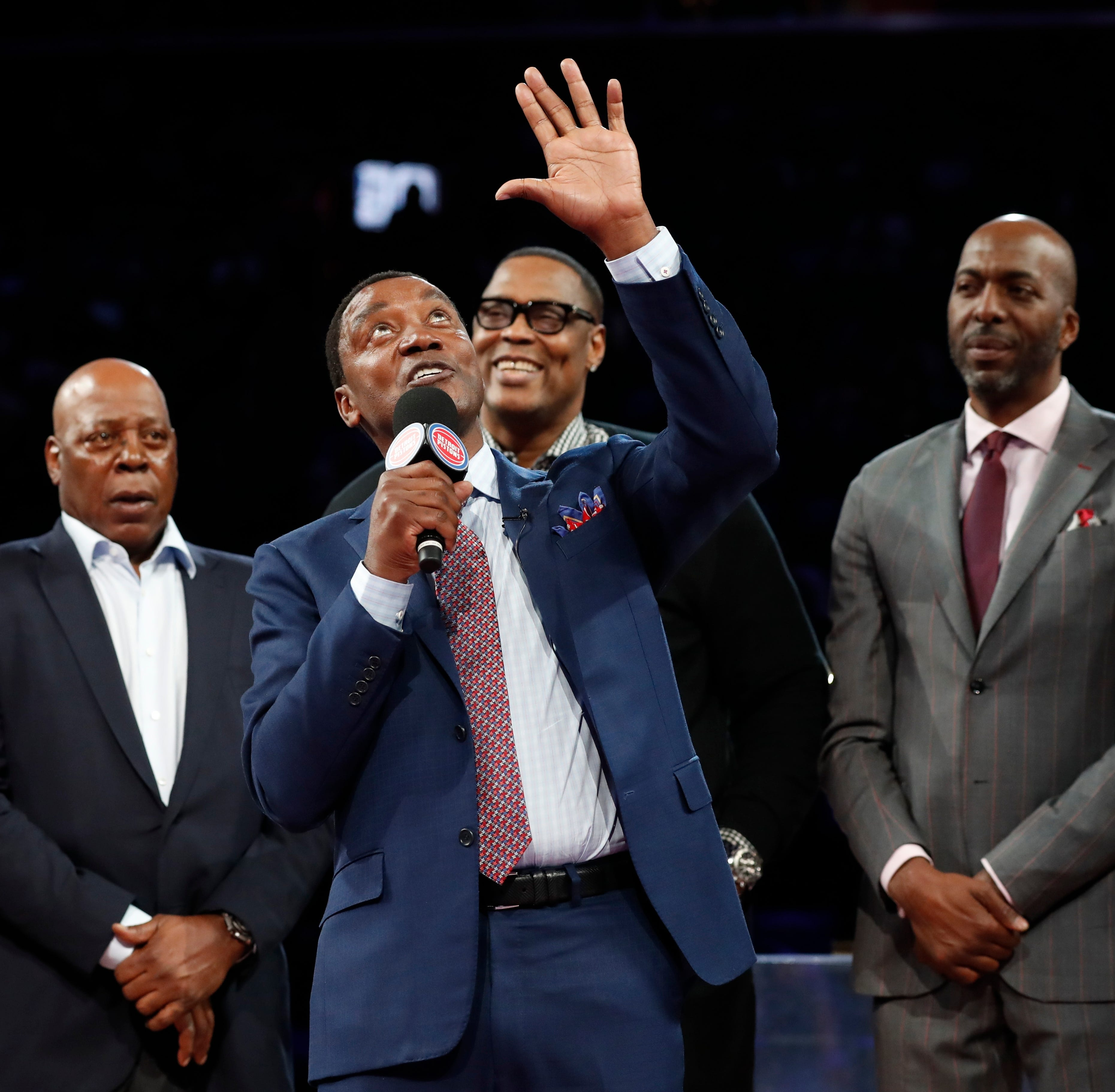 Pistons great Isiah Thomas lets guard down as fan adulation sweeps over 30-year Bad Boys reunion