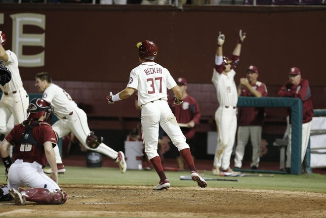FSU baseball's Tim Becker (37) was the winning run in a game against Boston College on Saturday night at Dick Howser Stadium.