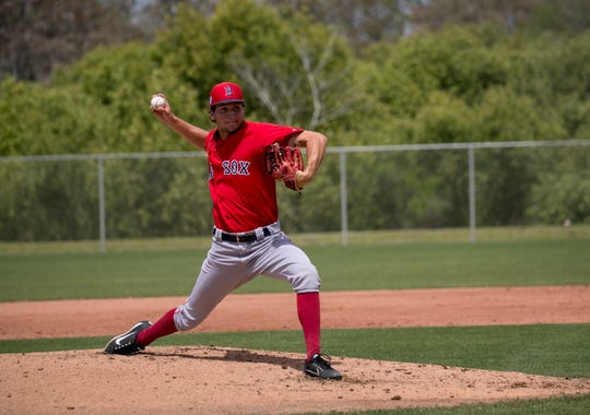 Bishop verot graduate Thad Ward pitches for the Red Sox organization in a minor-league game on Friday, March 29, 2019, in Fort Myers.