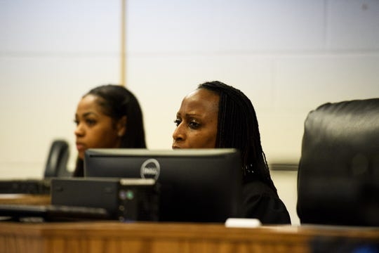 Judge Christina A. Pope listens to family testimony during a bond hearing for Nathaniel Roland at the Alvin S Glenn Detention Center in Columbia Sunday, March 31, 2019.