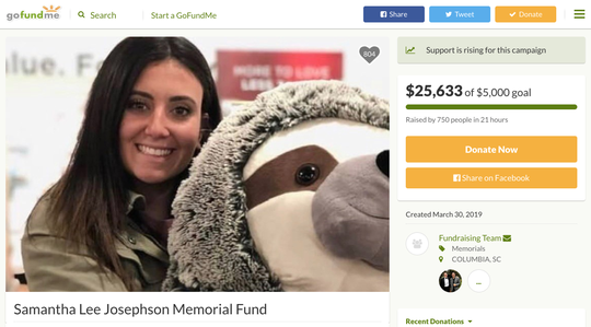 A screenshot on Sunday, March 31, 2019, of an online fundraiser set up for the family of USC student Samantha Josephson, who went missing two days prior and was later found dead.