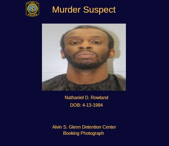 A mugshot of Nathaniel David Rowland provided by the Columbia Police Department on Twitter.