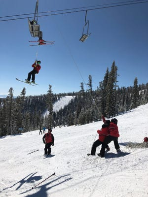 Skiers on a lift at Showdown Montana had to be lowered to the ground after a mechanical problem.