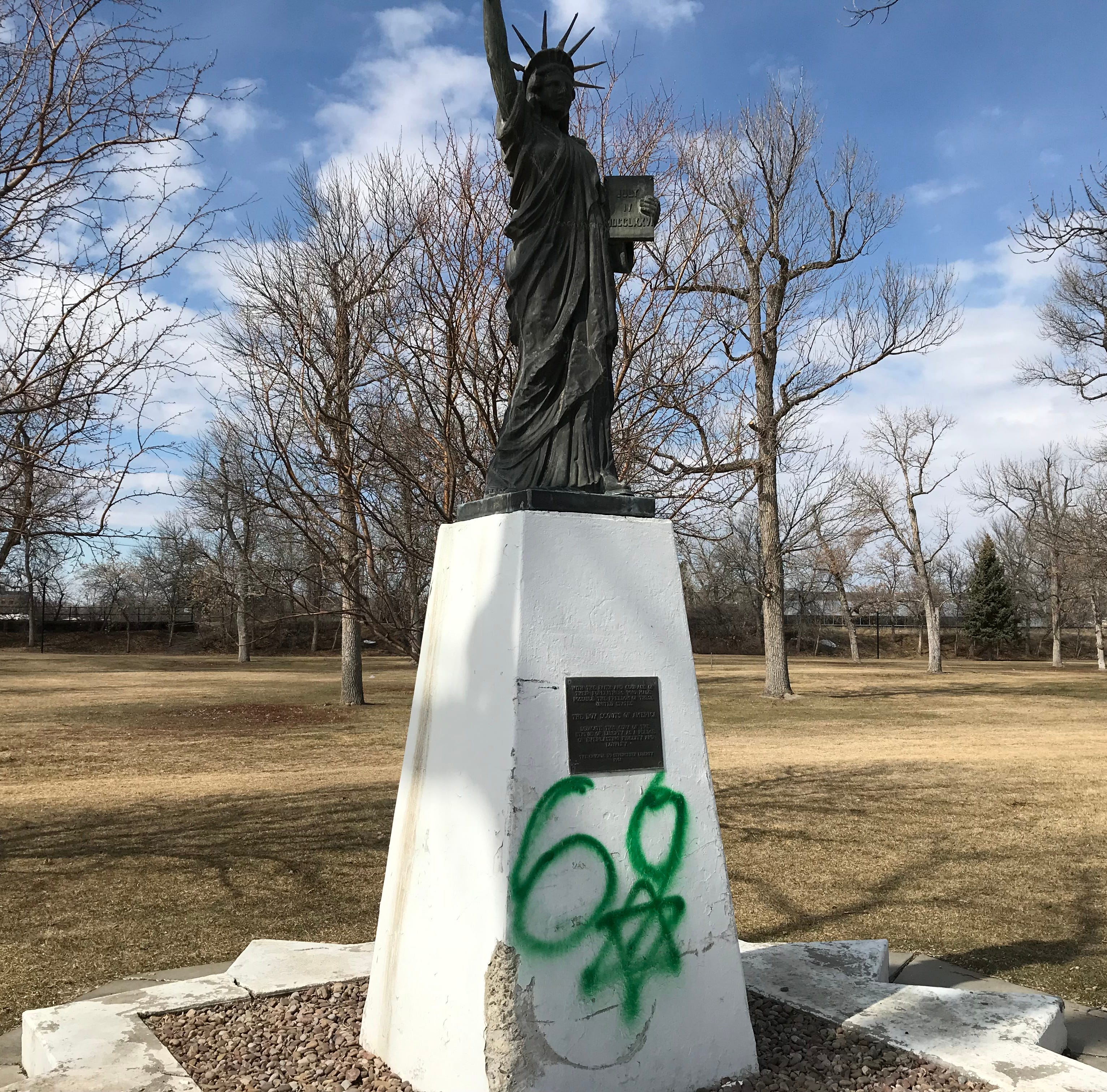 Great Falls Statue of Liberty replica vandalized
