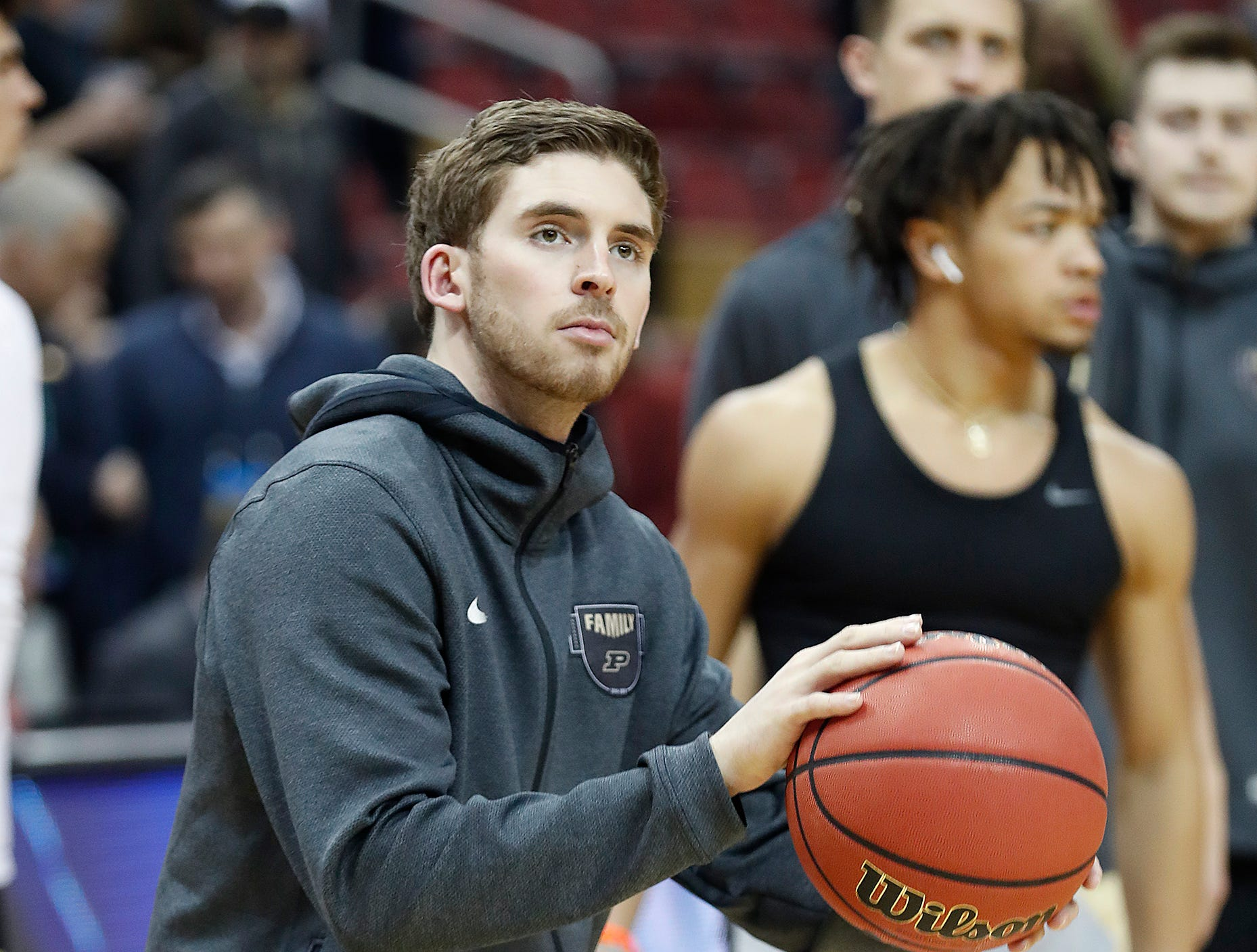 "Purdue Boilermakers guard Ryan Cline (14) before the start of the NCAA Division I Basketball Championship ""Elite 8"" basketball game at the KFC Yum! Center in Louisville, KY., on Saturday, Mar 30, 2019."