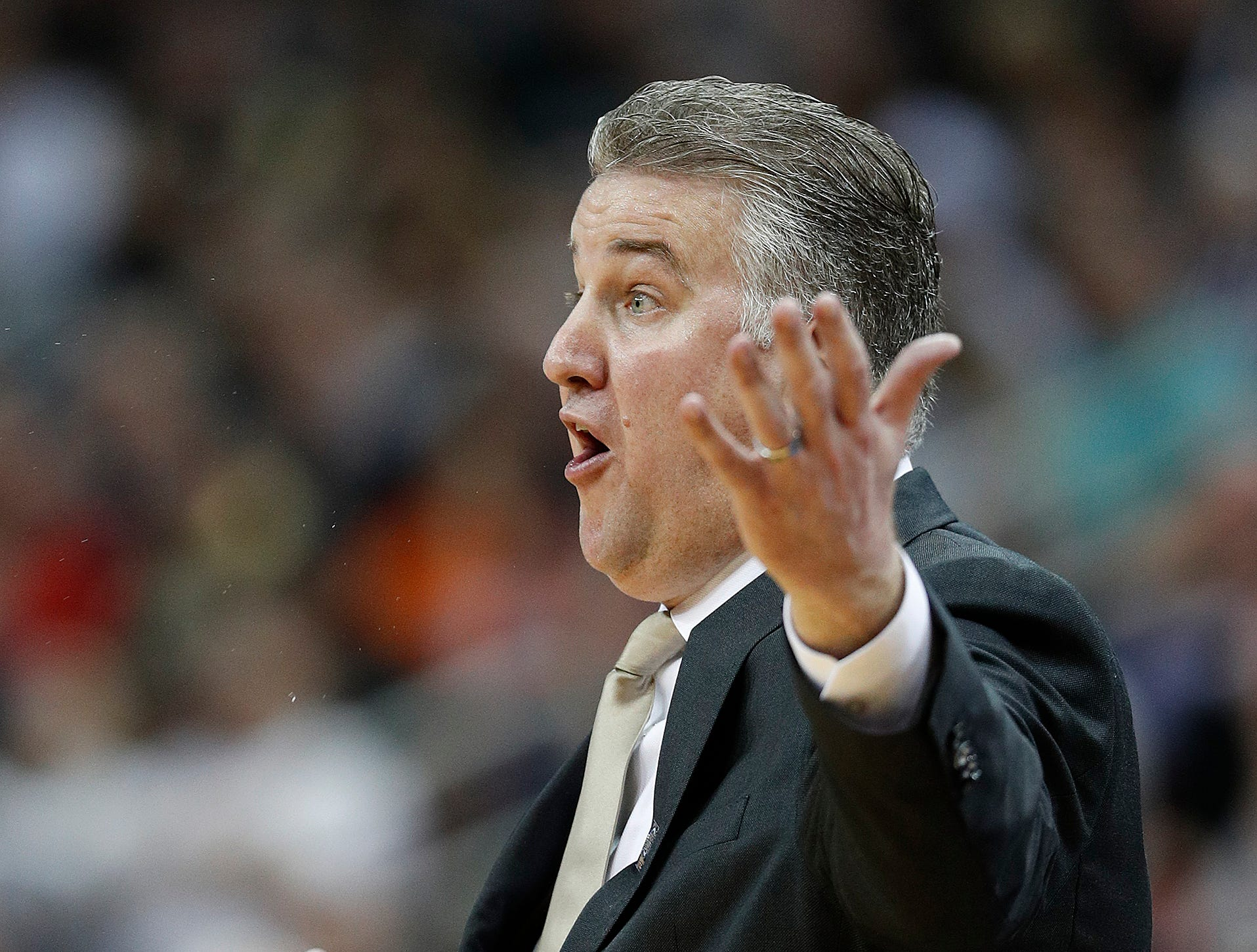 """Purdue Boilermakers head coach Matt Painter in the second half of their NCAA Division I Basketball Championship """"Elite 8"""" basketball game at the KFC Yum! Center in Louisville, KY., on Saturday, Mar 30, 2019. The Virginia Cavaliers defeated the Purdue Boilermakers 80-75."""