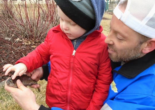 Maxwell Winiski, 4, of North Liberty was proud to catch this trout and win a prize at Saturday's fishing event. His father, Matt, is teaching him the sport.